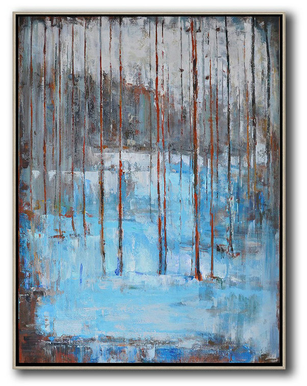 Large Abstract Art Handmade Oil Painting,Oversized Abstract Landscape Painting,Extra Large Paintings Grey,White,Blue,Red