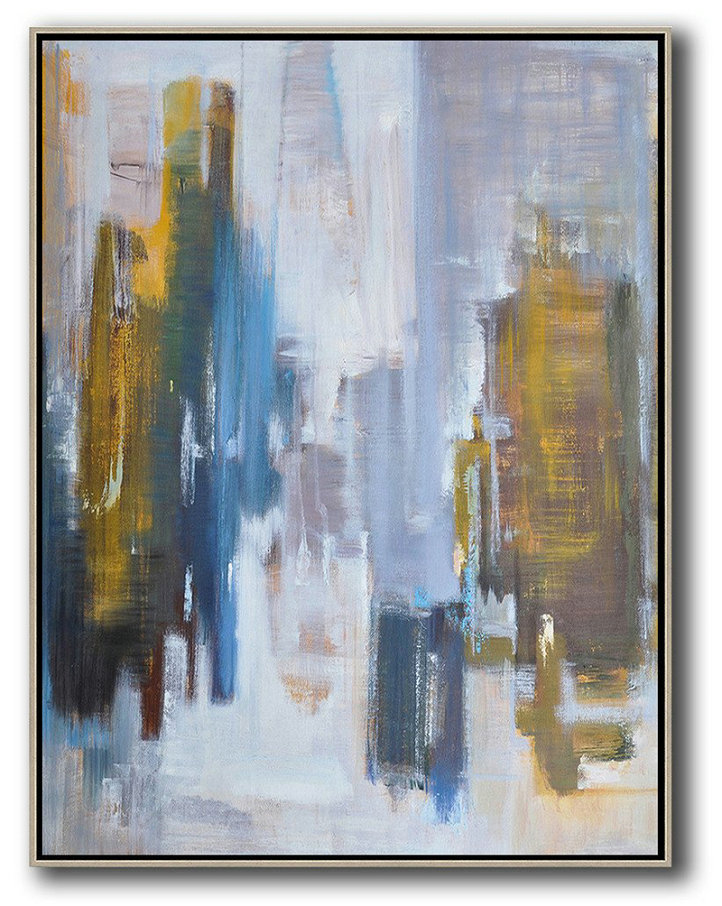 Extra Large Painting,Oversized Abstract Landscape Painting,Hand Painted Original Art Yellow,White,Blue,Brown