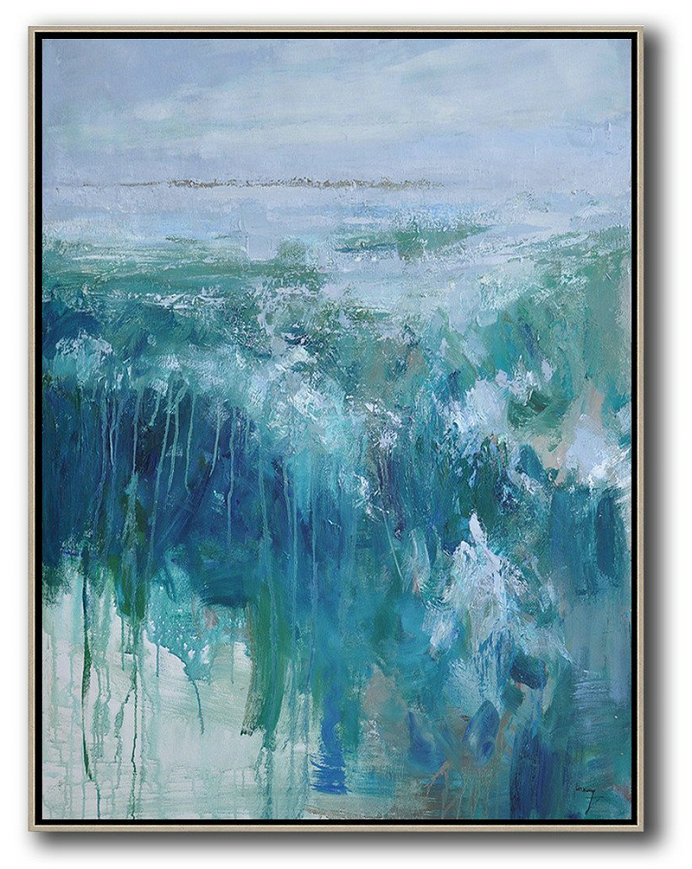 Abstract Painting Extra Large Canvas Art,Oversized Abstract Landscape Painting,Canvas Artwork For Sale Grey,Dark Blue,White,Green