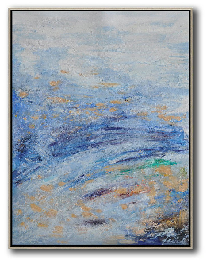 Large Abstract Painting Canvas Art,Oversized Abstract Landscape Painting,Size Extra Large Abstract Art White,Sky Blue,Yellow