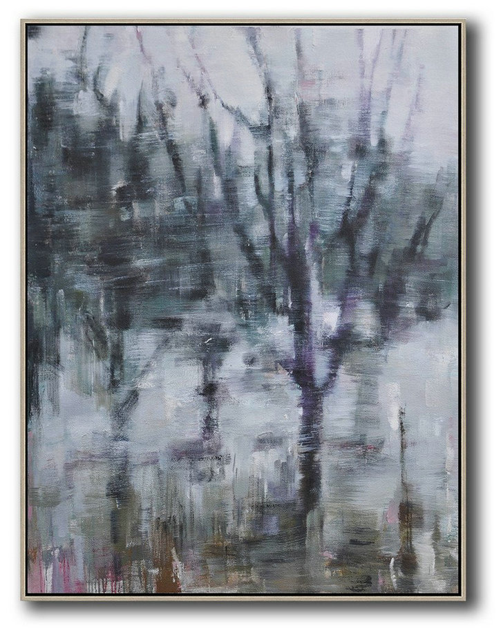 Hand Painted Extra Large Abstract Painting,Oversized Abstract Landscape Painting,Giant Canvas Wall Art Dark Green,White,Purple