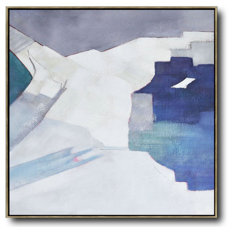 Large Abstract Art,Oversized Contemporary Art,Canvas Wall Paintings Blue,White,Grey