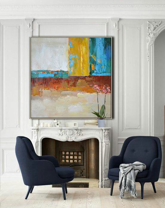 Extra Large Abstract Painting On Canvas,Oversized Contemporary Art,Huge Abstract Canvas Art Blue,Yellow,Orange,Dark Green