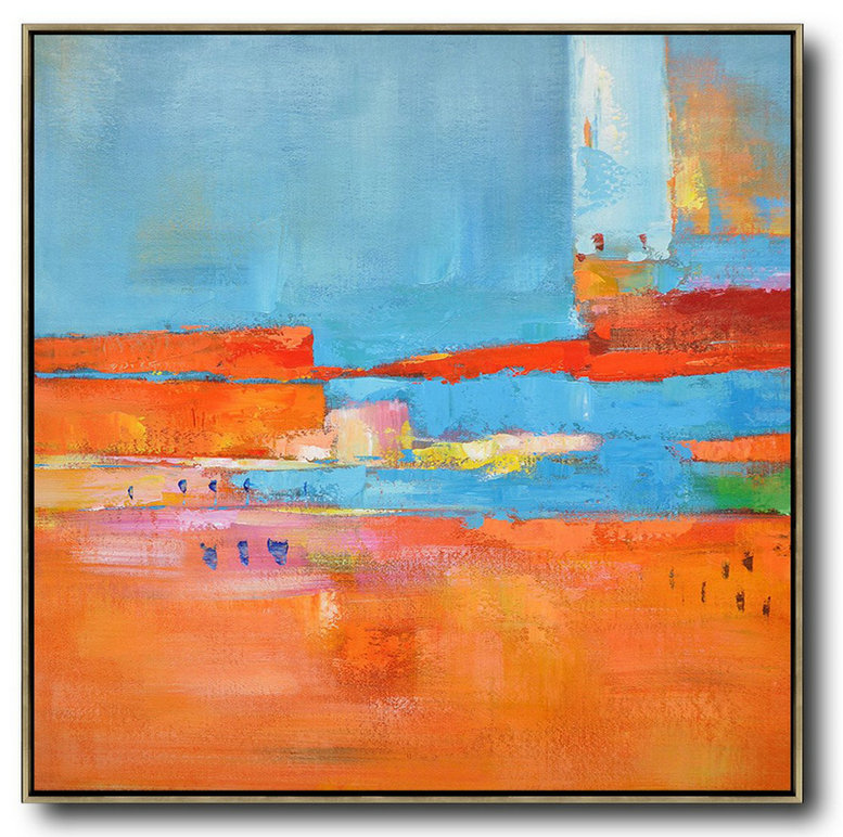 "Extra Large 72"" Acrylic Painting,Oversized Contemporary Art,Acrylic Painting Large Wall Art Red,Blue,Orange,Yellow,Pink"