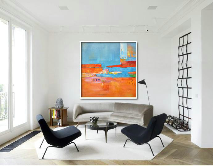 "Extra Large 72"" Acrylic Painting,Oversized Contemporary Art,Acrylic Painting Large Wall Art Red,Blue,Orange,Yellow,Pink - Click Image to Close"