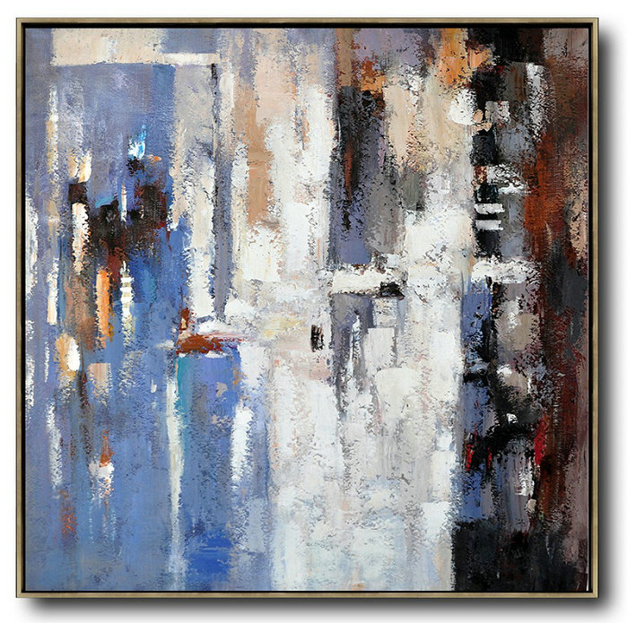 "Extra Large 72"" Acrylic Painting,Oversized Contemporary Art,Handmade Acrylic Painting Blue,White,Brown,Red"
