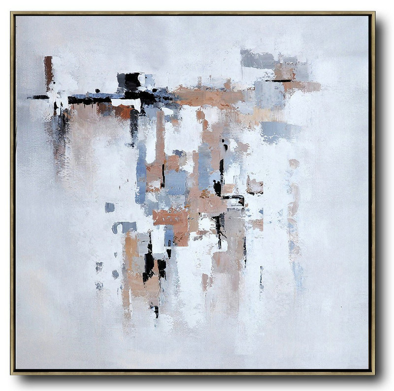 Hand Made Abstract Art,Oversized Contemporary Art,Acrylic Minimailist Painting Taupe,Grey,White,Black