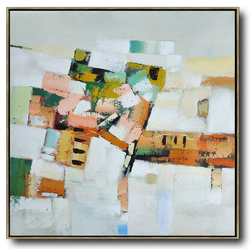 Extra Large Acrylic Painting On Canvas,Oversized Contemporary Art,Large Abstract Wall Art Grey,Orange,Green,Yellow