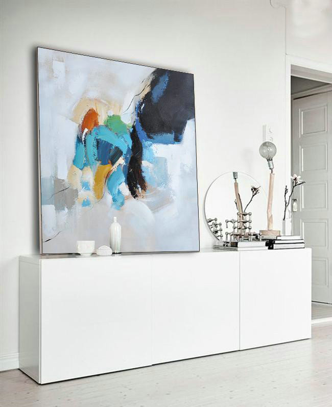 Abstract Painting Extra Large Canvas Art,Oversized Contemporary Art,Size Extra Large Abstract Art Black,White,Sky Blue,Green,Yellow