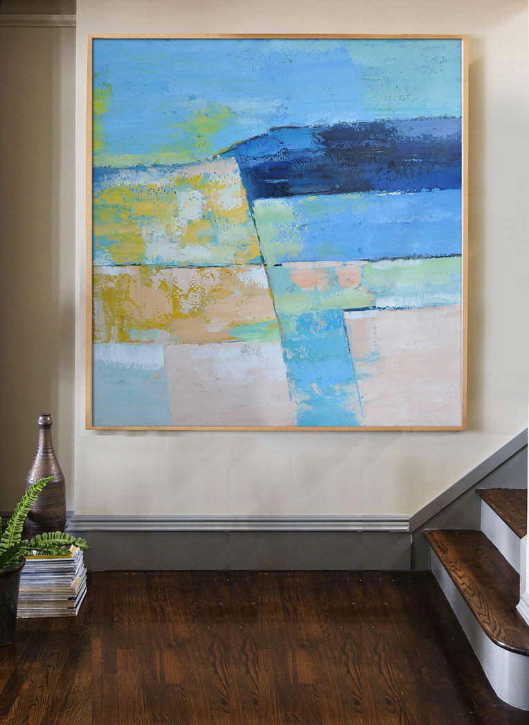 Original Artwork Extra Large Abstract Painting,Oversized Contemporary Art,Original Art Blue,Pink,Yellow,Grass Green