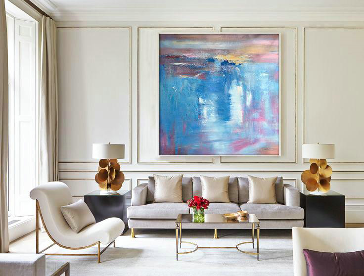 Original Abstract Painting Extra Large Canvas Art,Oversized Contemporary Art,Contemporary Art Canvas Painting Blue,White,Pink,Purple