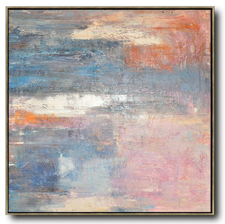 Large Modern Abstract Painting,Oversized Contemporary Art,Size Extra Large Abstract Art Pink,Blue,Orange,Beige