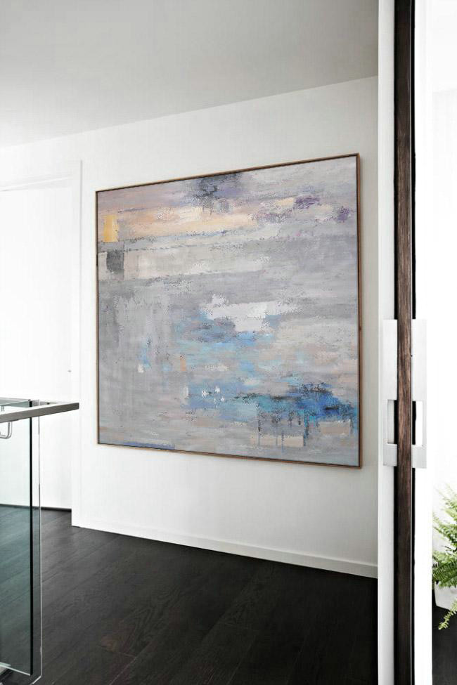 Original Painting Hand Made Large Abstract Art,Oversized Contemporary Art,Living Room Wall Art Grey,Blue,White
