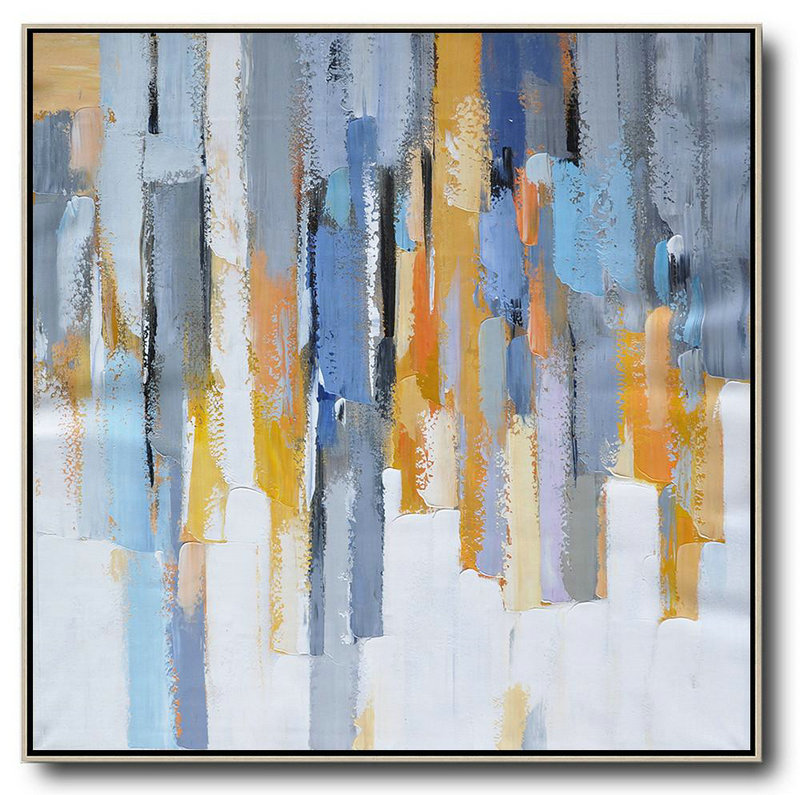 Handmade Large Contemporary Art,Oversized Contemporary Art,Canvas Wall Art White,Yellow,Blue,Grey,Orange
