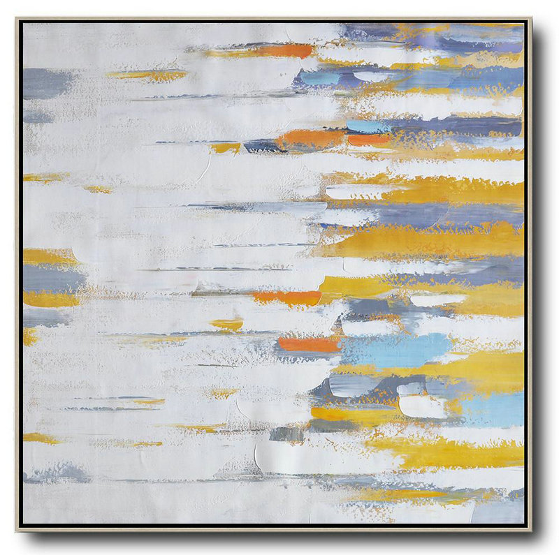 Large Abstract Art Handmade Painting,Oversized Contemporary Art,Art Work White,Yellow,Grey,Orange