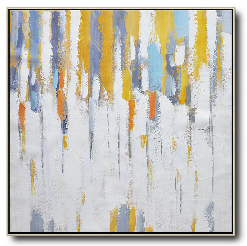 Handmade Painting Large Abstract Art,Oversized Contemporary Art,Modern Art White,Yellow,Grey,Orange