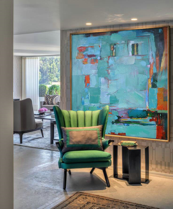 Extra Large Painting,Oversized Contemporary Art,Canvas Wall Paintings Green,Blue,Red,Orange