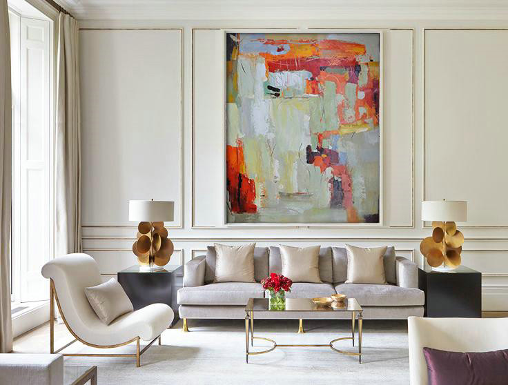 Abstract Painting Extra Large Canvas Art,Vertical Palette Knife Contemporary Art,Canvas Paintings For Sale Red,Light Green,Grey