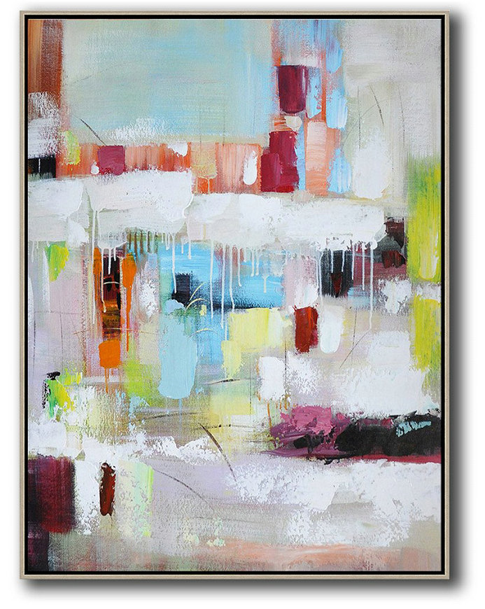 Large Abstract Painting,Vertical Palette Knife Contemporary Art,Modern Art Blue,White,Red,Orange,Light Green