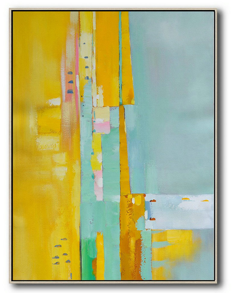 Large Abstract Painting On Canvas,Vertical Palette Knife Contemporary Art,Big Canvas Painting Yellow,Blue,Pink