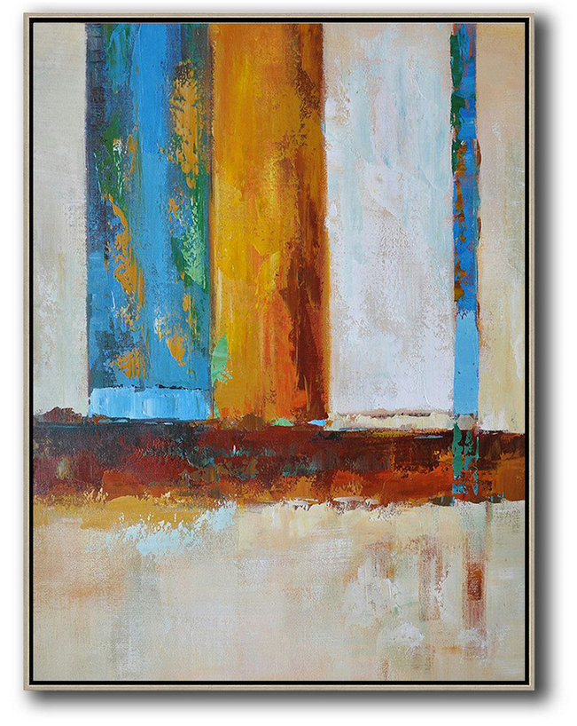 Extra Large Acrylic Painting On Canvas,Vertical Palette Knife Contemporary Art,Modern Art Blue,White,Yellow,Red