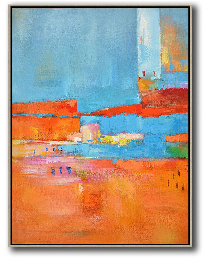 Large Abstract Art Handmade Oil Painting,Vertical Palette Knife Contemporary Art,Contemporary Art Acrylic Painting Red,Orange,Sky Blue,Pink