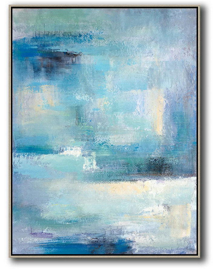 Handmade Large Contemporary Art,Vertical Palette Knife Contemporary Art,Large Abstract Wall Art Blue,White,Grey