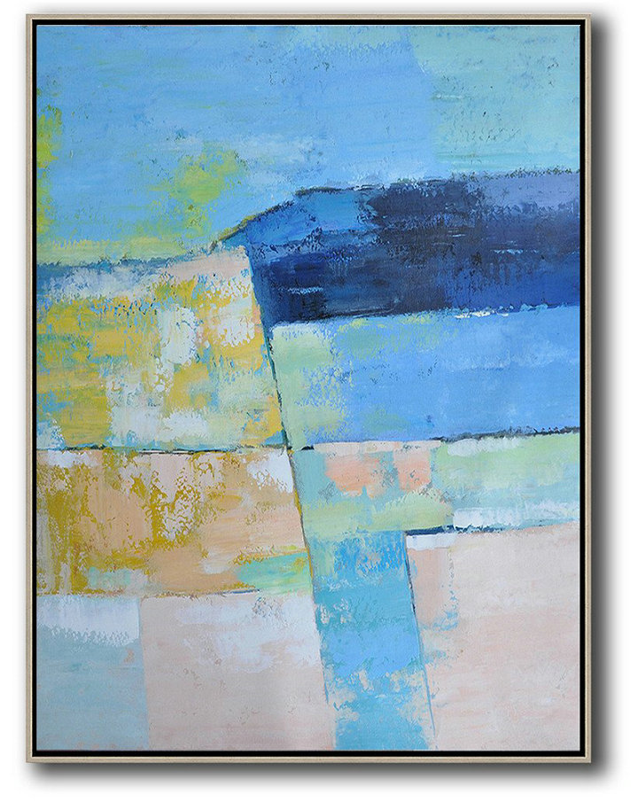 Large Abstract Art,Vertical Palette Knife Contemporary Art,Large Abstract Art Handmade Acrylic Painting Blue,Pink,Yellow