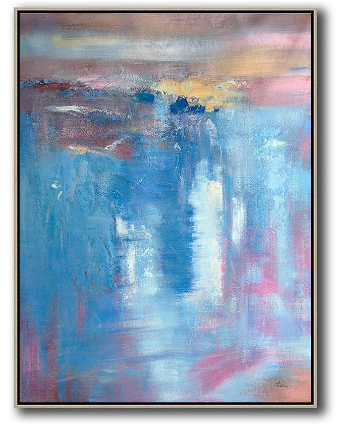 Handmade Painting Large Abstract Art,Vertical Palette Knife Contemporary Art,Large Canvas Art,Modern Art Abstract Painting Blue,Pink,Brown,Yellow,White