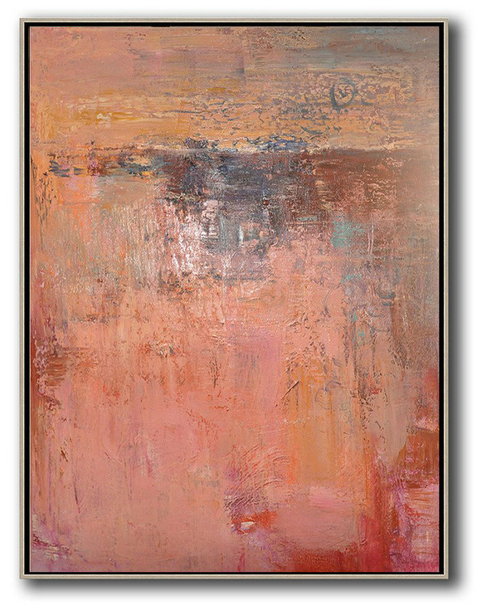 Extra Large Painting,Vertical Palette Knife Contemporary Art,Art Work Pink,Brown,Red