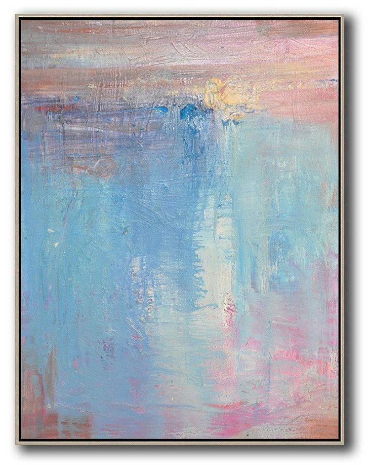 Large Abstract Painting Canvas Art,Vertical Palette Knife Contemporary Art,Large Abstract Wall Art Pink,Nblue,Purple