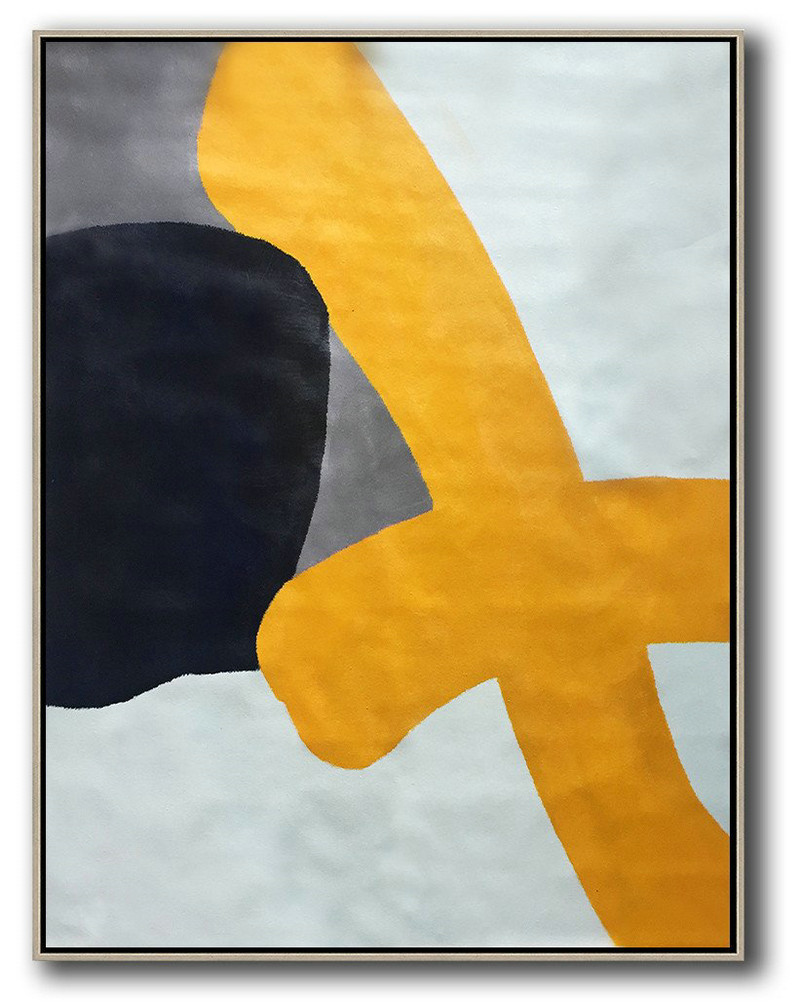 Original Extra Large Wall Art,Vertical Contemporary Art,Hand Made Original Art Yellow,White,Black,Navy Blue