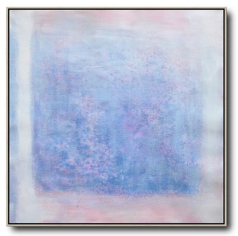 Handmade Extra Large Contemporary Painting,Oversized Contemporary Painting,Extra Large Artwork Blue,Pink,White,Gray