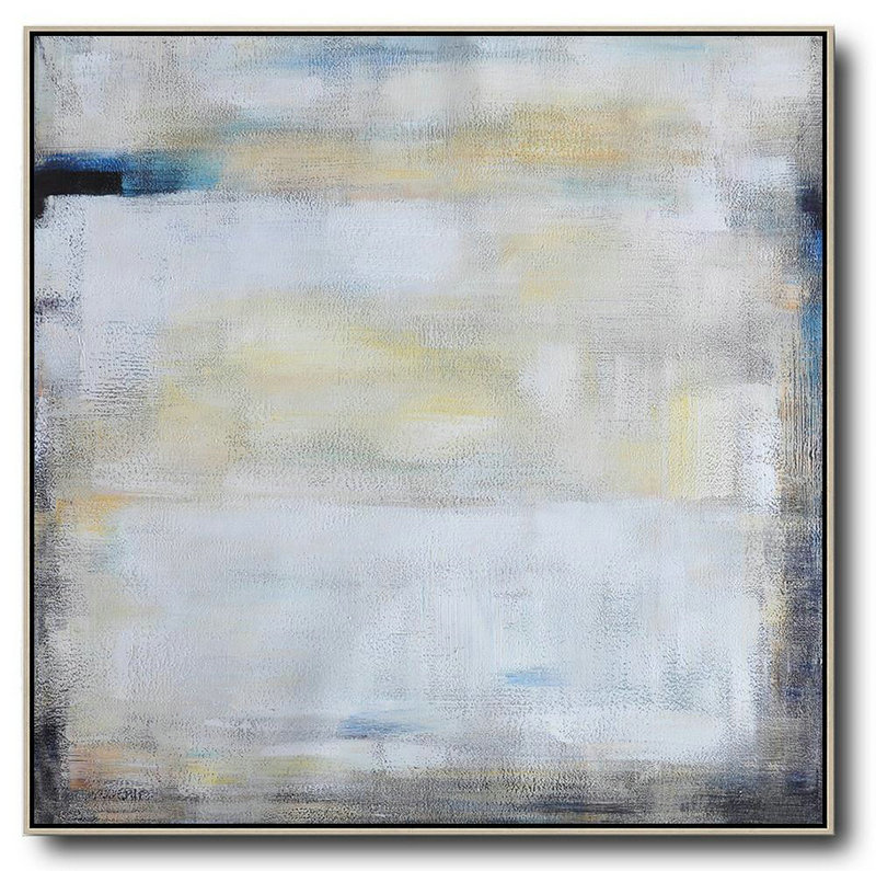 Extra Large Textured Painting On Canvas,Oversized Contemporary Painting,Large Wall Canvas White,Yellow,Blue,Black
