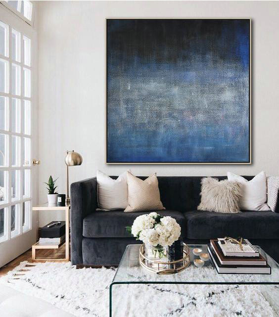 Abstract Painting Extra Large Canvas Art,Oversized Contemporary Painting,Acrylic Painting Large Wall Art Dark Blue,Black,Grey