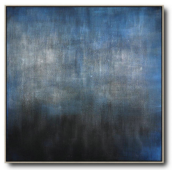 Oversized Canvas Art On Canvas,Oversized Contemporary Painting,Huge Canvas Art On Canvas Black,Blue,Gray