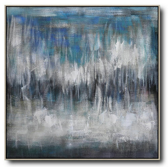Large Abstract Painting,Oversized Contemporary Painting,Large Paintings For Living Room Black White,Blye,Grey