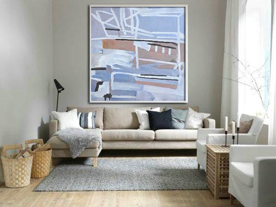 Extra Large Textured Painting On Canvas,Oversized Abstract Landscape Painting,Large Colorful Wall Art Violet Ash,Taupe,White