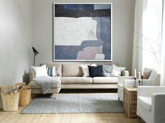 Oversized Canvas Art On Canvas,Oversized Abstract Landscape Painting,Large Wall Art Canvas Dark Blue,White,Violet Ash