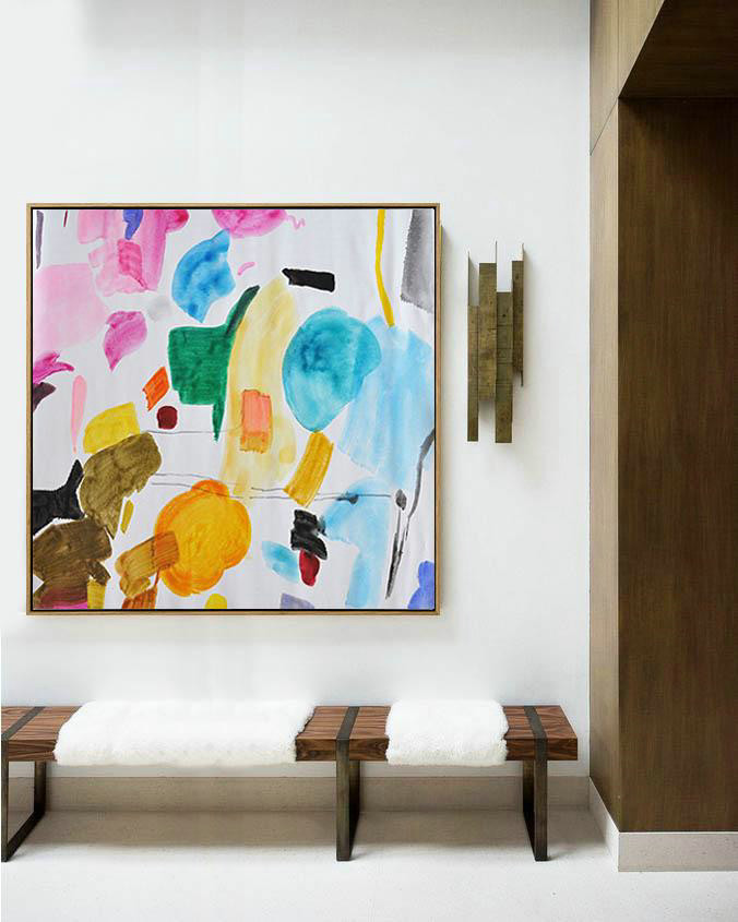 Handmade Large Painting,Oversized Contemporary Painting On Canvas,Xl Large Canvas Art Yellow,White,Grey