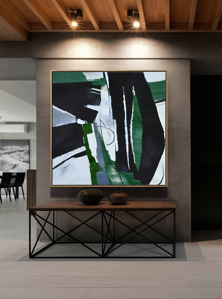 Original Extra Large Wall Art,Oversized Dark Green Contemporary Painting On Canvas,Custom Canvas Wall Art Dark Green,Balck,White
