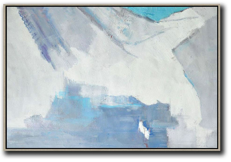 Abstract Painting Extra Large Canvas Art,Oversized Horizontal Contemporary Art,Large Canvas Art,Modern Art Abstract Painting White,Grey,Blue