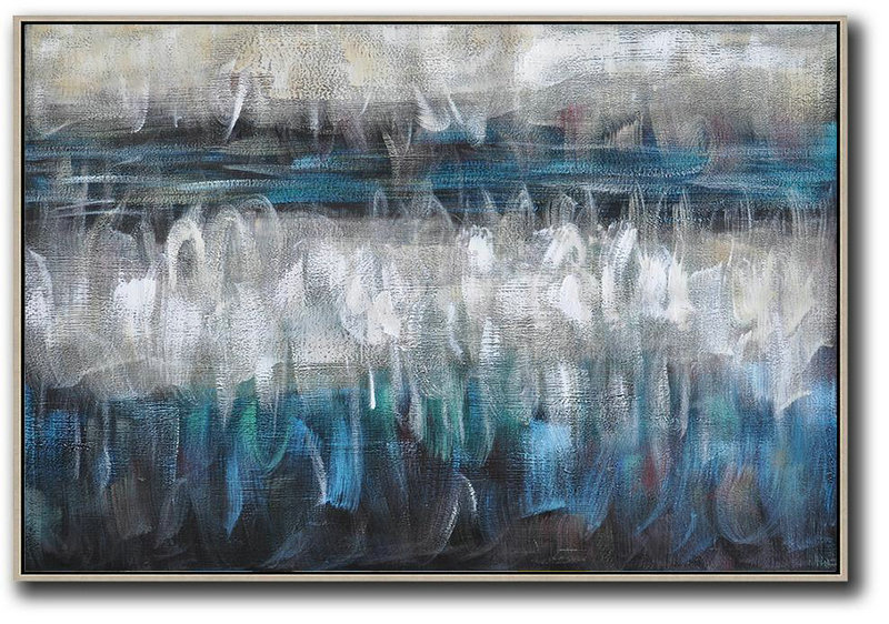 Modern Wall Art,Oversized Horizontal Contemporary Art,Abstract Art Decor,Contemporary Painting Blue,Grey,Black,White