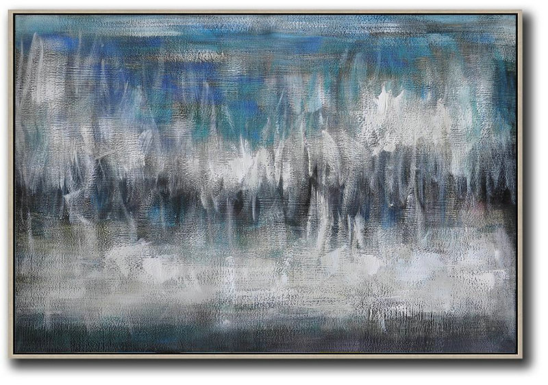Artwork For Sale,Oversized Horizontal Contemporary Art,Modern Art Abstract Painting Blue,Grey,Black,White