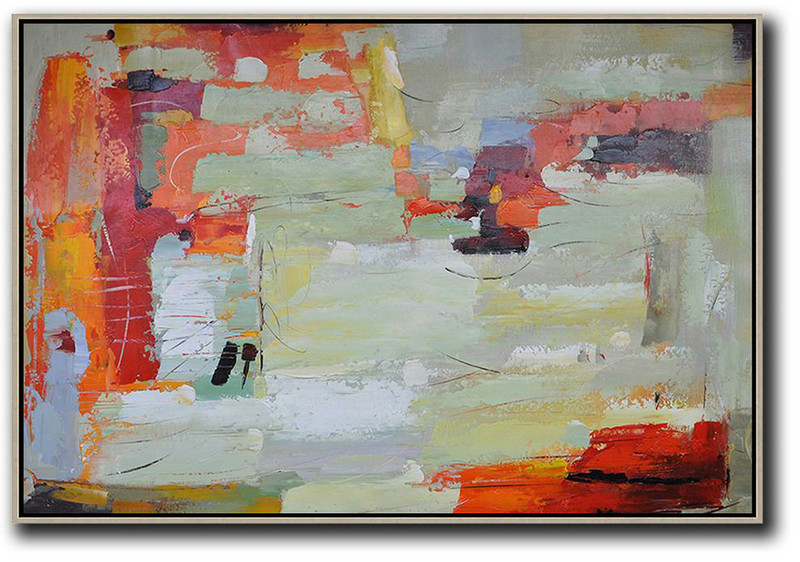 Large Abstract Painting On Canvas,Oversized Horizontal Contemporary Art,Huge Abstract Canvas Art Red,Light Green,Yellow,Grey