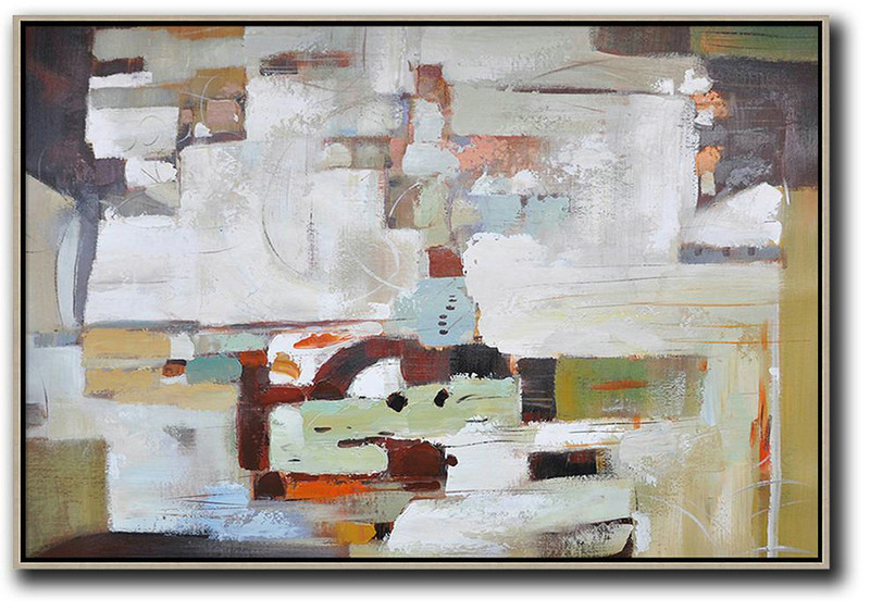 Large Abstract Art,Oversized Horizontal Contemporary Art,Large Paintings For Living Room White,Grey,Dark Red
