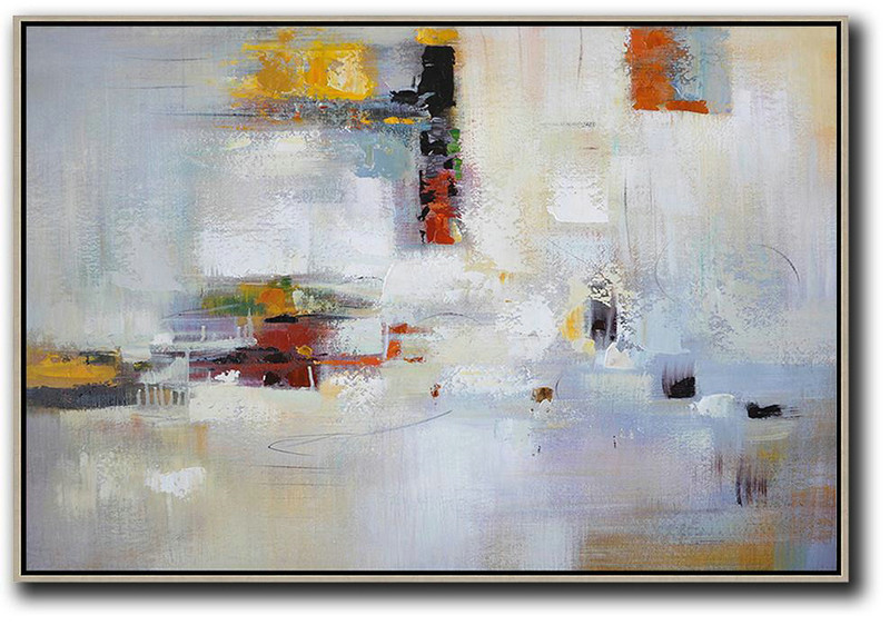 Original Abstract Painting Canvas Art,Oversized Horizontal Contemporary Art,Hand Painted Original Art White,Yellow,Red,Grey