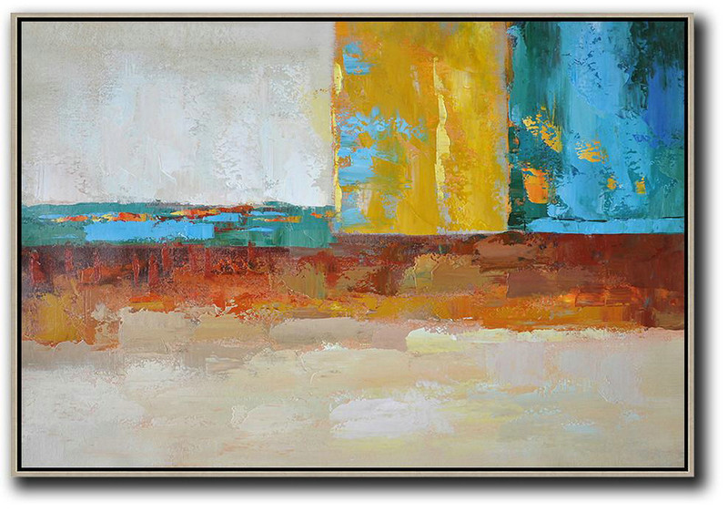 Hand Painted Aclylic Painting On Canvas,Oversized Horizontal Contemporary Art,Size Extra Large Abstract Art Blue,Yellow,White,Red