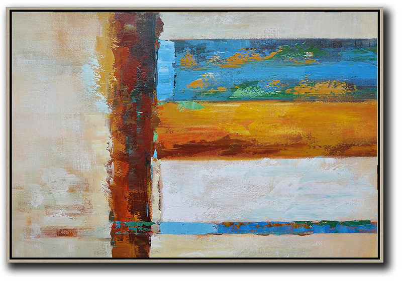 Acrylic Minimailist Painting,Oversized Horizontal Contemporary Art,Huge Abstract Canvas Art Blue,Yellow,White,Brown,Light Yellow