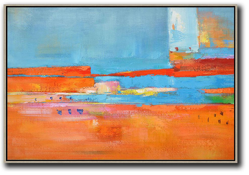 Large Abstract Art Handmade Oil Painting,Oversized Horizontal Contemporary Art,Extra Large Paintings Blue,Red,Orange